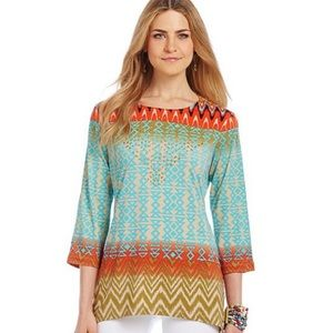 Multiples Tops - Aztec pattern multi color top